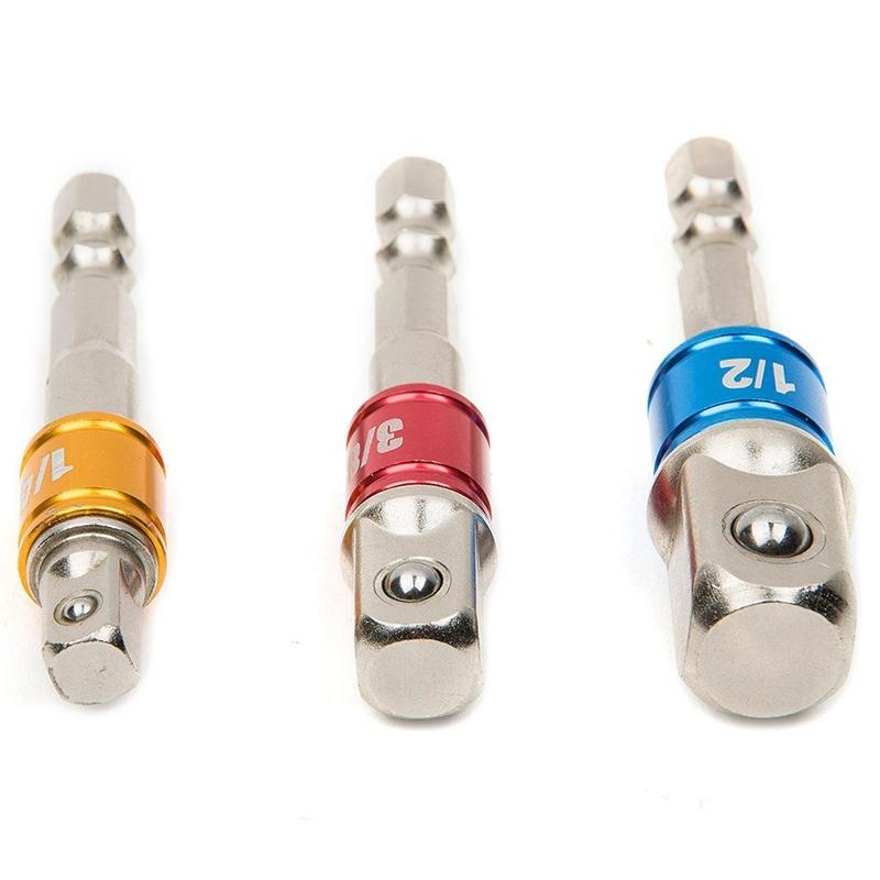 3PCS Buchse Adapter Impact Set Sechskantschaft auf 1//4 3//8 1//2 Zoll Bunte E P9Q2