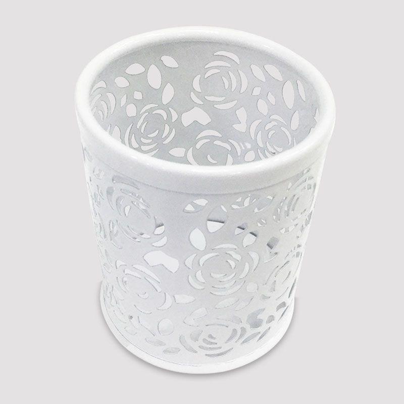 1 x zylindrisches Metall hohl Rose Stifthalter Buero Aufbewahrungskiste J2S4
