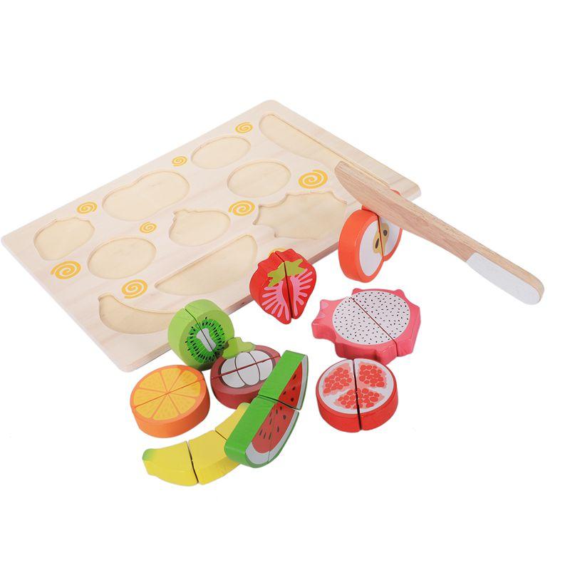 MWZ Kinder Taeuschen Spiel Spielzeug Magnetische Holz Schneiden Obst Gemues Y1H3