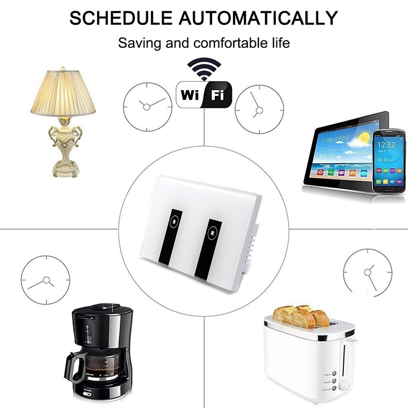 wifi smart light switch 2 switches touch wall plate alexa. Black Bedroom Furniture Sets. Home Design Ideas