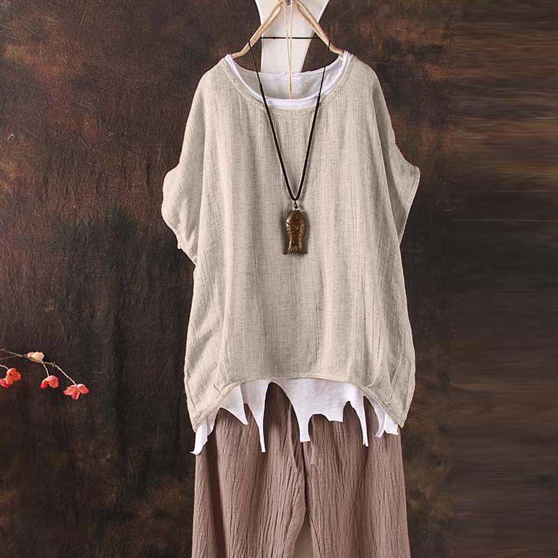 1X Frauen Plain Batwing Sleeve beilaeufige lose Baggy Tops T-Shirt Bluse M7B7