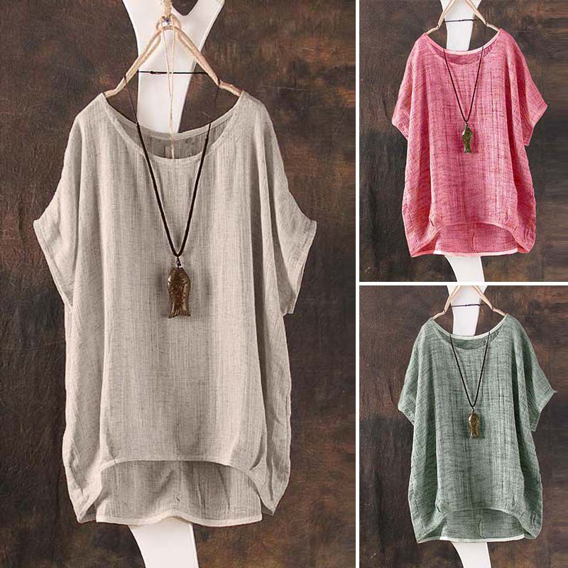 Frauen Plain Batwing Sleeve beilaeufige lose Baggy Tops T-Shirt Bluse G3X4