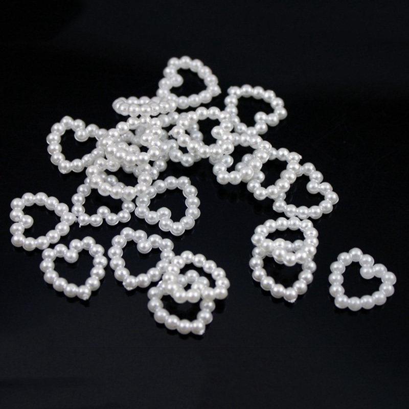 3X 50 x Pearl Nachahmung Liebe Herz Verzierungen fuer Handwerk // Hochzeit // Q3Z5