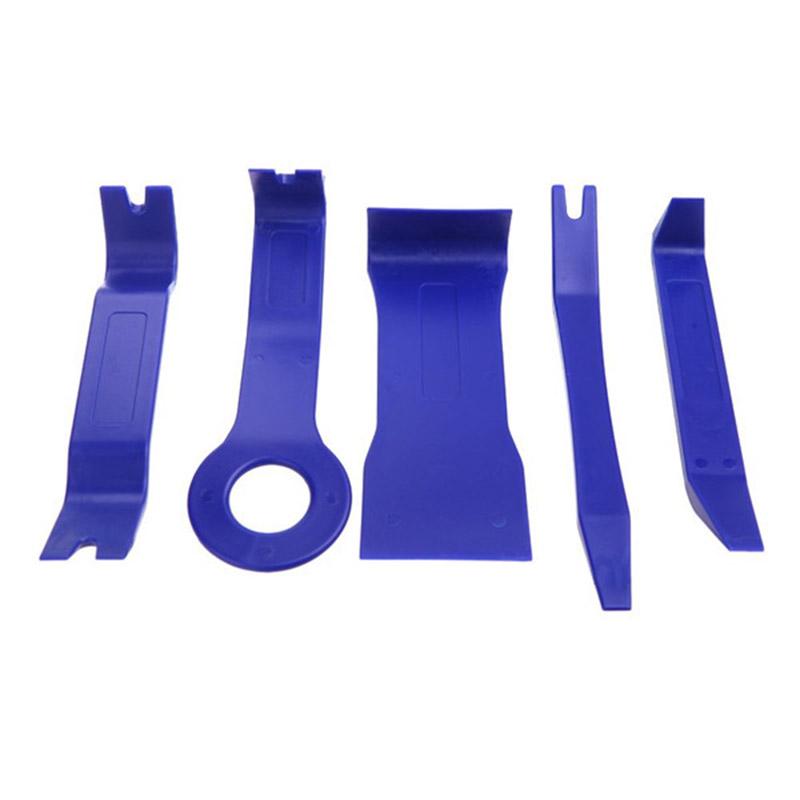 5pcs/set Blue Universal Auto Plastic Trim Car Stereo Soundproof Removal Too G8W2