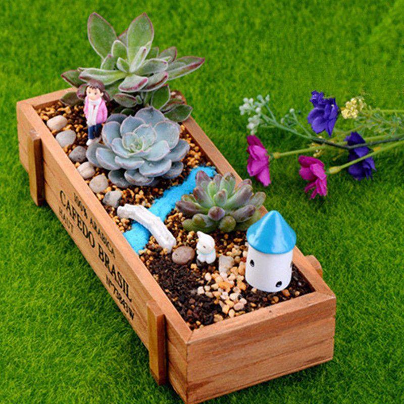 Blumentopf Vintage Holz Gartenblume saftig 1 Stk U2X9