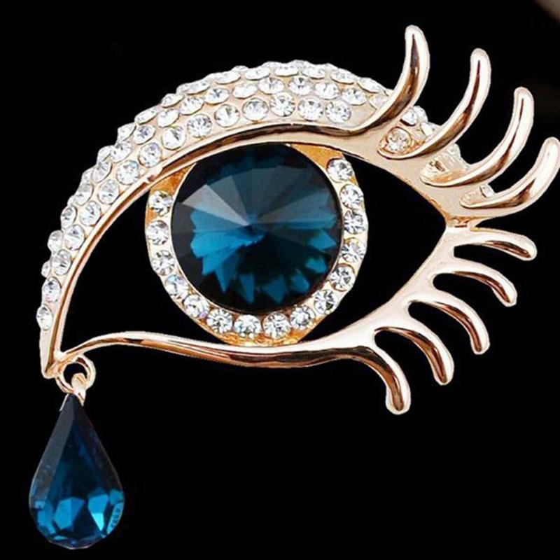 Tears of Angel Eyeball Diamond Brooch Eyelashes Crystal Pin Jewelry Scarves T9C5