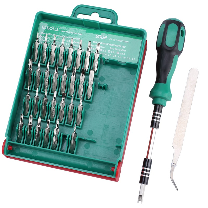 8X(ELECALL 33 In 1 Screwdriver Set Interchangeable Torx Tweezer Extension W5M2)