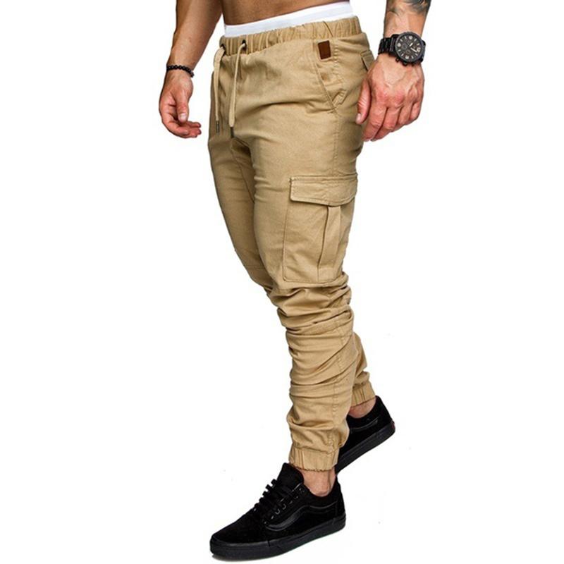 Повседневные мужские штаны с карманами для бега трусцой хип-хопа фитнеса