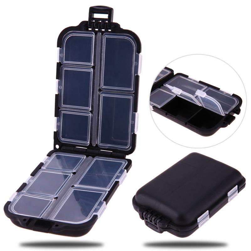 10 Gitter Utility Angelgeraet Box Koeder Haken hart Pastic Angeln Werkzeuge Q4C1