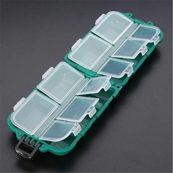 10 Gitter Utility Angelgeraet Box Koeder Haken hart Pastic Angeln Werkzeuge T4R2