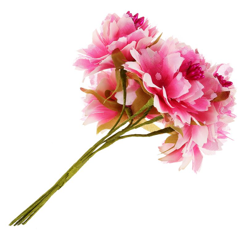6pcs 4cm Artificial carnation flowers Stamen silk flower bouquet for weddin@U2L7