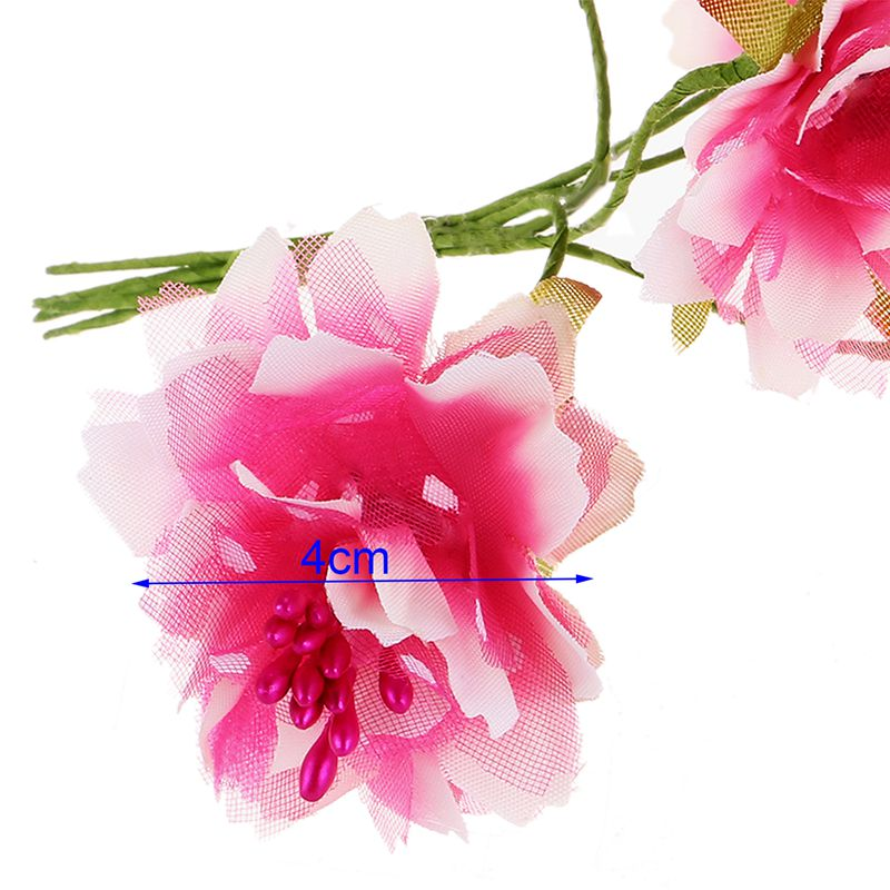6 Stueck 4cm kuenstliche Nelke Blume Staubblaetter Blumenstrauss HochzeiK5E8 2X