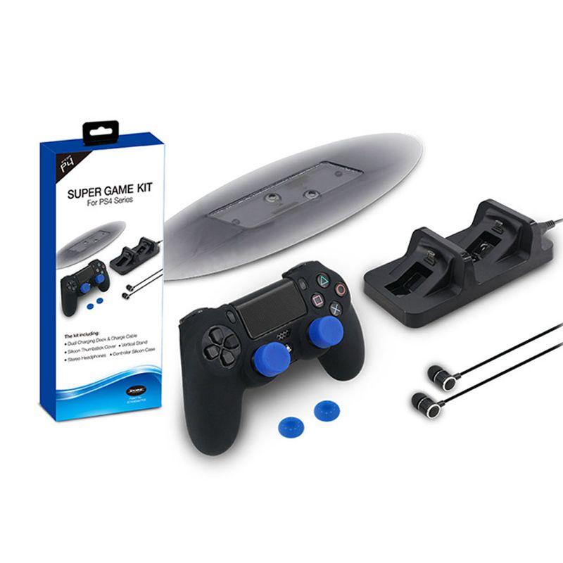 2X(Para PS4 Slim Kit de accesorios Controlador dual Estacion de carga + AurV3Z1)