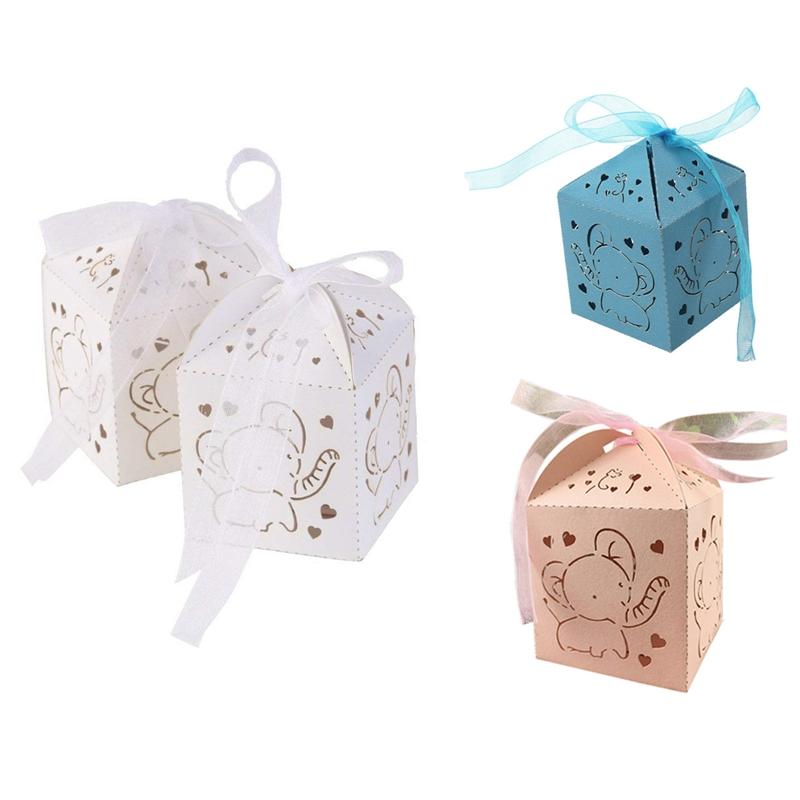 50 pcs elephant de projet de mariage bapteme dragees Box Boites boite Decor P5B8