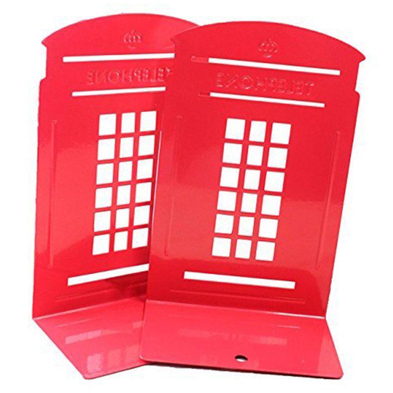 8X(1 Pair London Telephone Stiefelh Design Anti-Skid Bookends Book Shelf Hold G1J9)