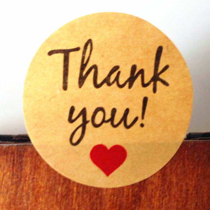 """Vintage/""""Thank you/"""" Heart Round Kraft paper Seal sticker For handmade products T9"""