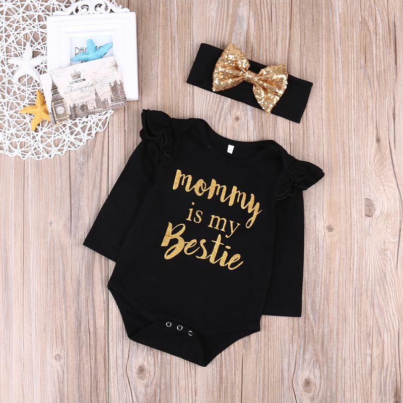 """Neugeborenes Baby Maedchen Kleidung Floral /""""Mama ist meine Bestie/"""" Body Str M2T6"""
