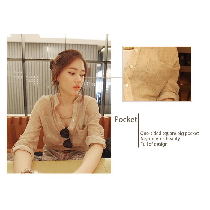 Frauen Mode Baumwolle Leinen Langarm-shirt Casual Solide Lose V-ausschnitt  N1Q2