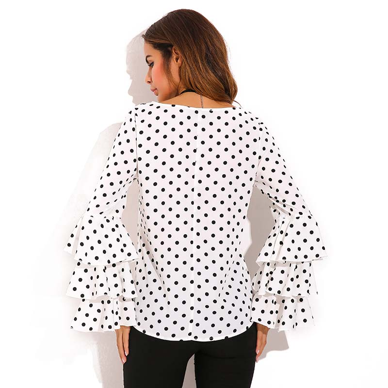 Damenmode Bell Sleeve Lose Polka Dot Shirt Damen Plus Size Casual Bluse Ele E9S7