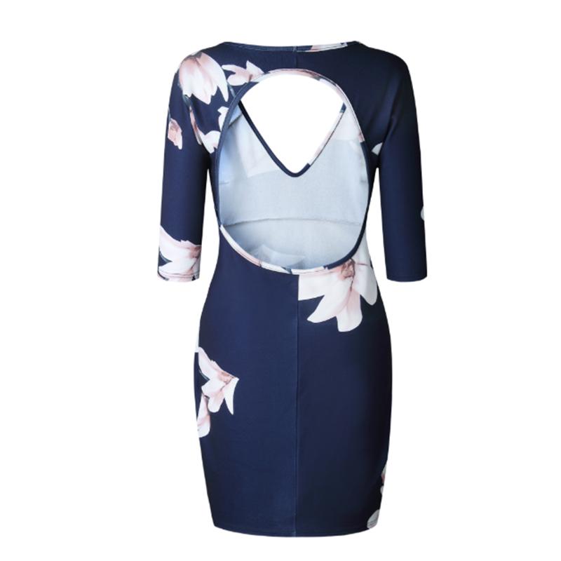 Women-Open-Back-Mid-Sleeve-Print-V-neck-Bodycon-Dress-Sexy-Party-Club-wear-A3R1