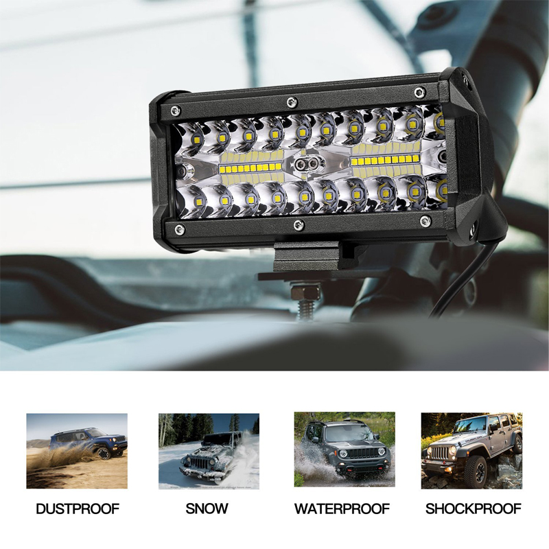 7 Inch 120W Combo Led Light Bars Spot Flood Beam for Work Driving Offroad B A4J1