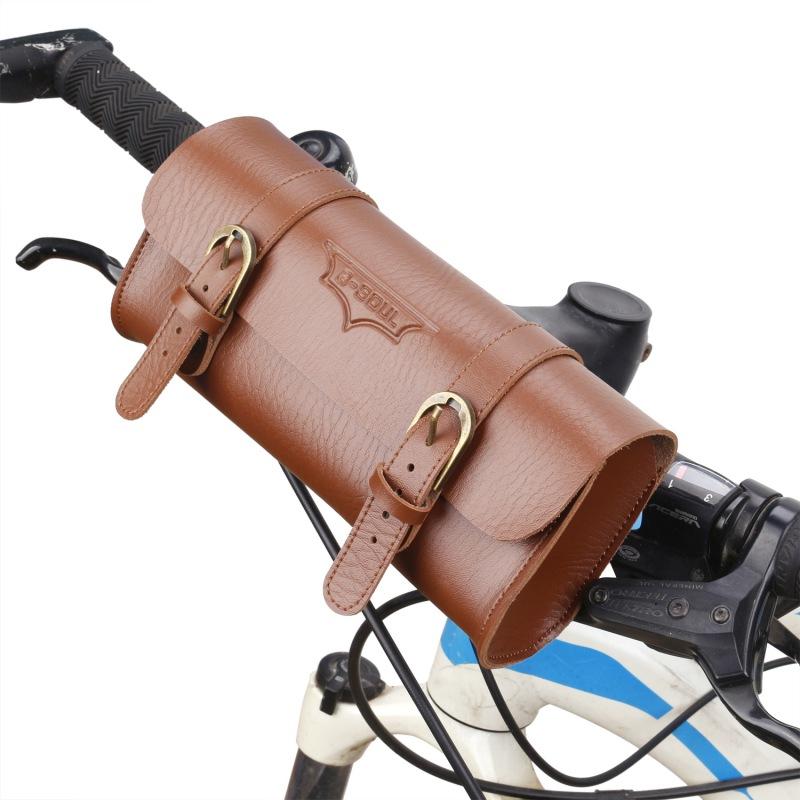 1X B-SOUL New Vintage Bicycle Handlebar Bag Bicycle Tail Bag PU Leather Cyc V4J2