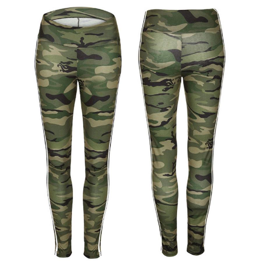 Women Sport Pants Stripe High Waist Yoga Fitness Leggings Ladies Casual Sli V4E9
