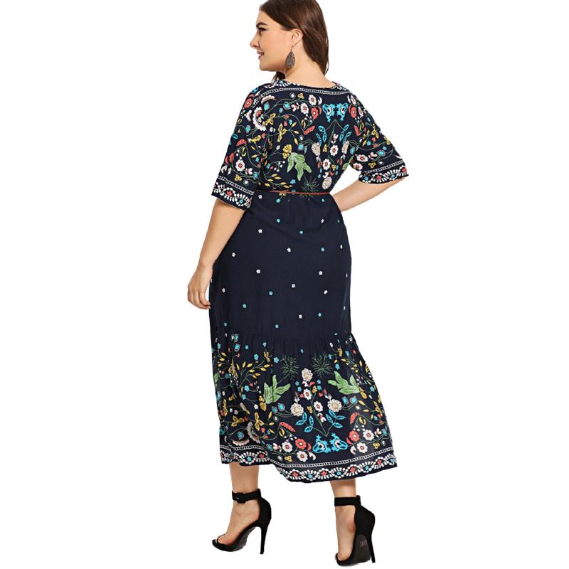 Damen Fashion V-Ausschnitt Halb Aermel Blumendruck Seitenschlitzkleid Damen N5G2
