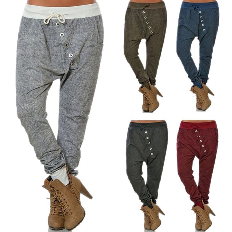Women Fashion Plus Size Drawstring Waist Harem Pants Casual Loose MiddleT5I5 1X