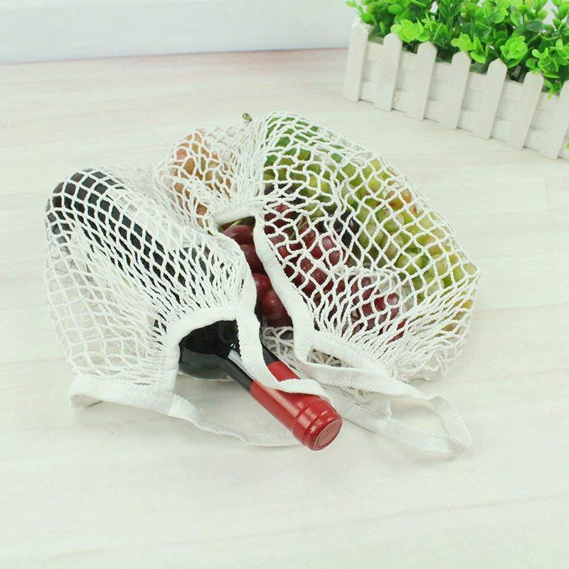 2 Stk Tragbare Wiederverwendbare Mesh Baumwolle Netztasche Aufbewahrungstas C5S6