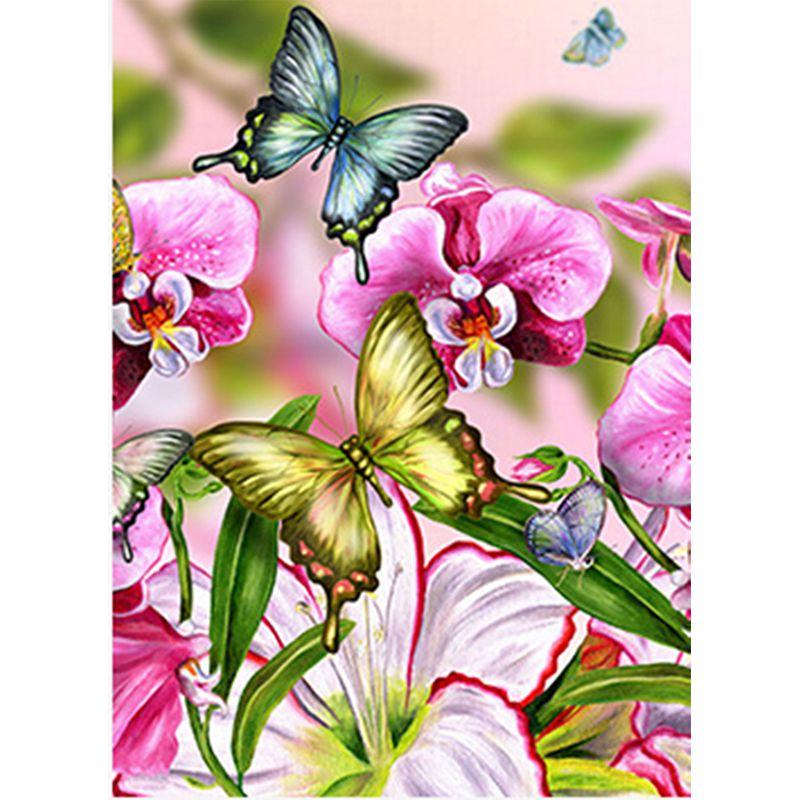Bordado de Diamante Completo 5D Diy Mariposa Flor Bordado de Cruz de Diaman V2J1