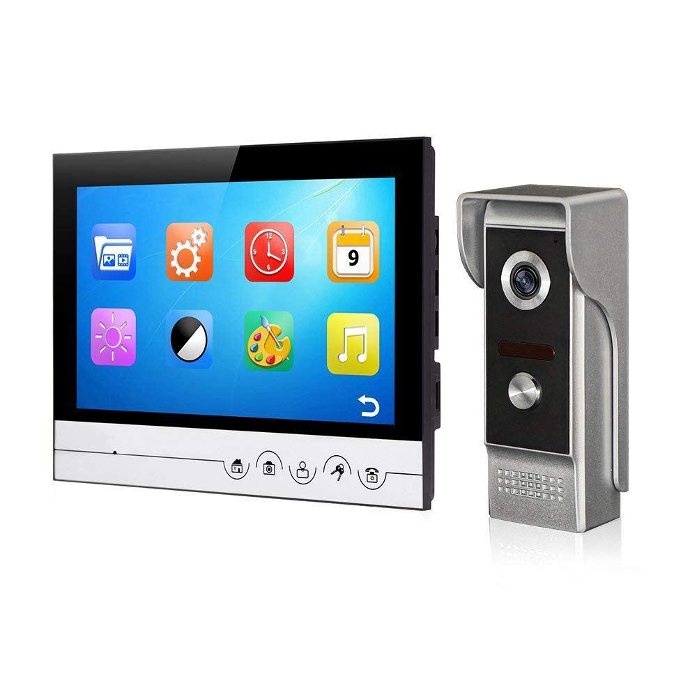 Видеодверной домофон проводной видеокамера с 9-дюймовым сенсорным экраном для виллы / дома / офиса / квартиры (поддержка TF-карты)