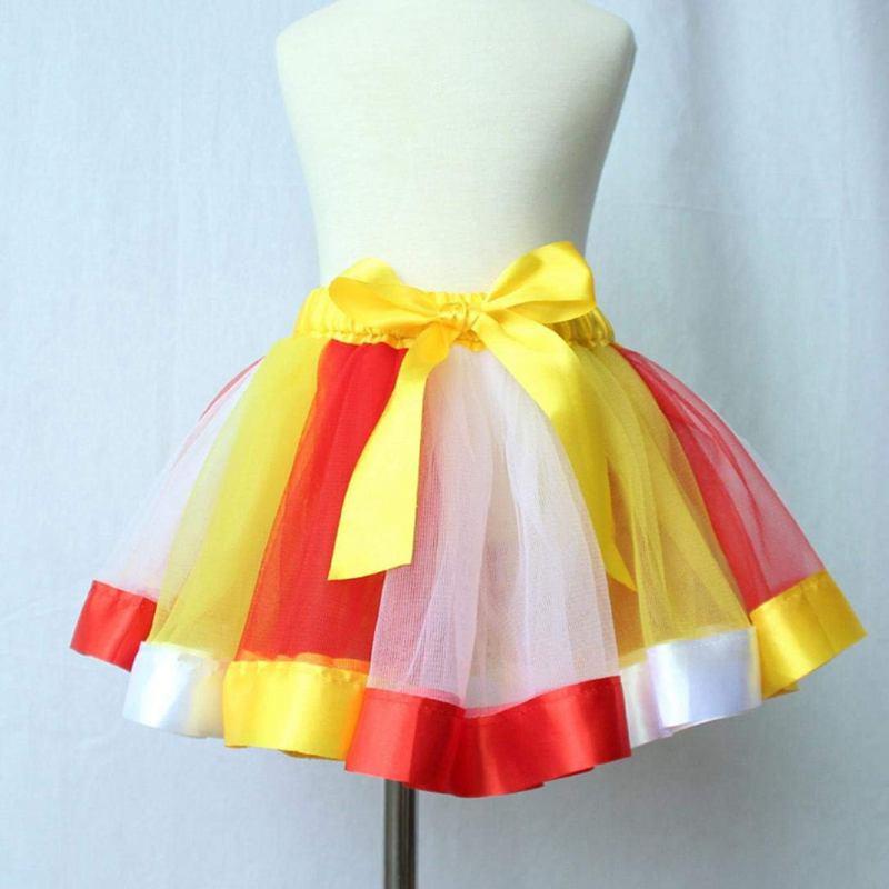 Mädchen Ballettröckchen Rock Kleid Mehrfarbig Regenbogen Unterrock Tanzklei O4S9