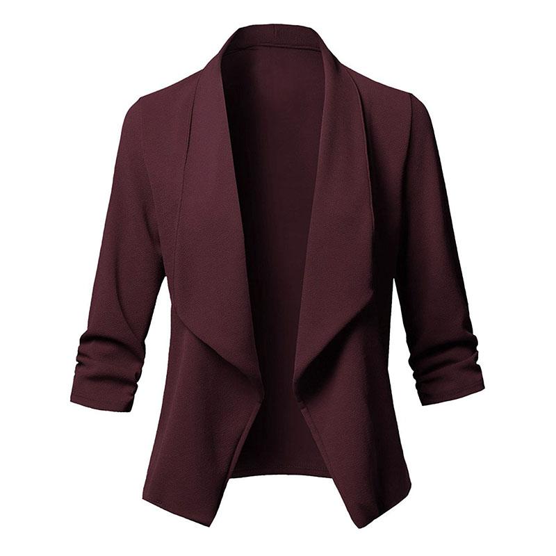 Donne eleganti manica 3//4 signore cappotto Suit colletto della giacca casualM7W9