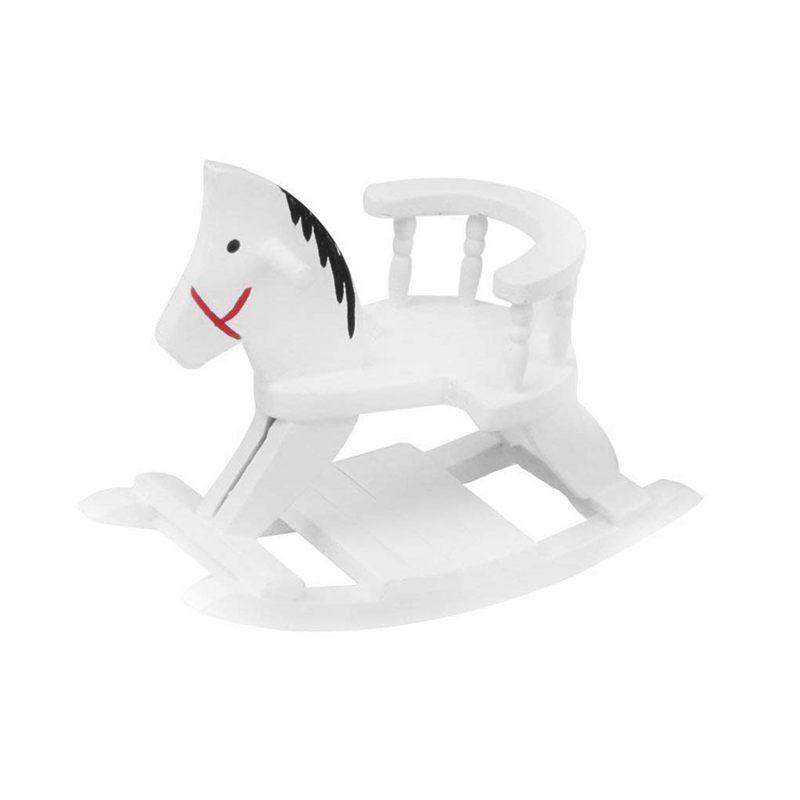 Hölzernes Miniatur Schwing Pferd für Spielzeug Haus 1/12 - Weiß M6N4 2X Puppenstuben & -häuser