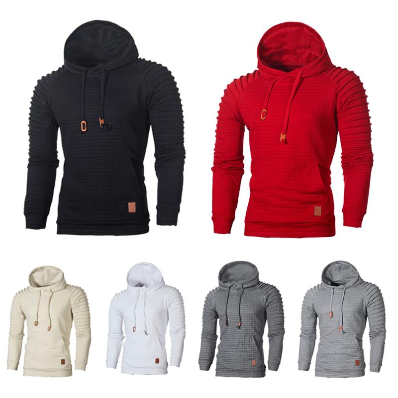 Herren Mode Warme Plaid Design Tasche Hip Hop Mit Kapuze Sweatshirt Lässig Q1B3