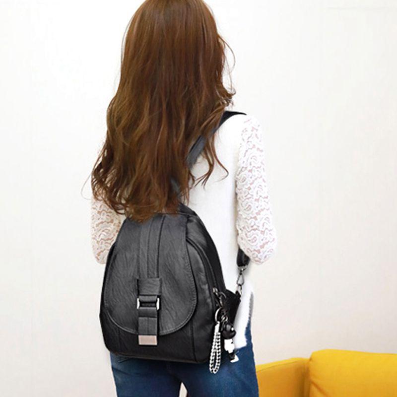 Women Vintage Backpacks For School Small Shoulder Bag Preppy Style Female B L8E3