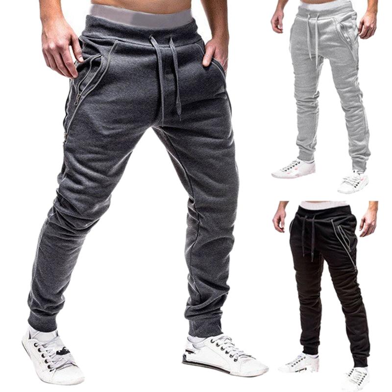 Men Fashion Hip Hop Drawstring Elastic Waist Zip Pockets Harem Pants Jogger V9B1