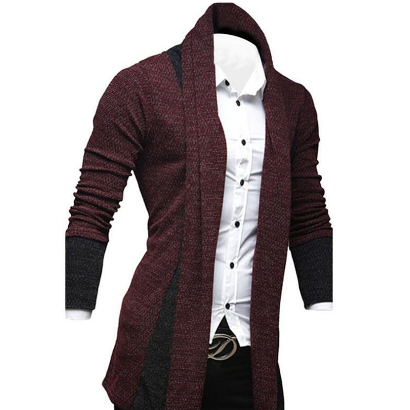 Hombres Moda Color Empalme Delantero Abierto Suéter de Punto Cardigan Hombr J9M8