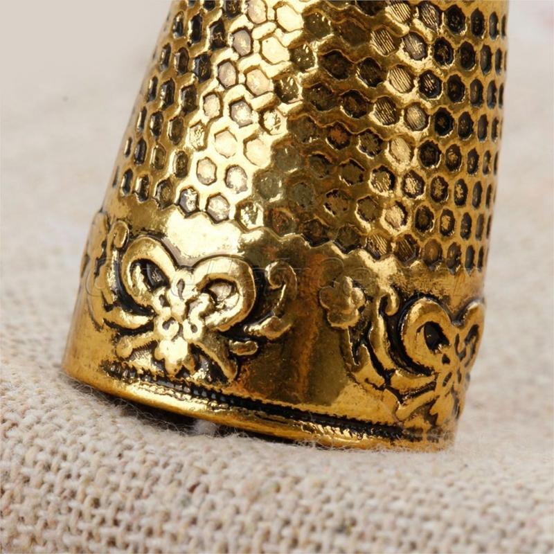 5X 2Stk Fingerhut Nähen Griff Fingerspitzenschutz Metall Schild Pin Nadeln V3T6