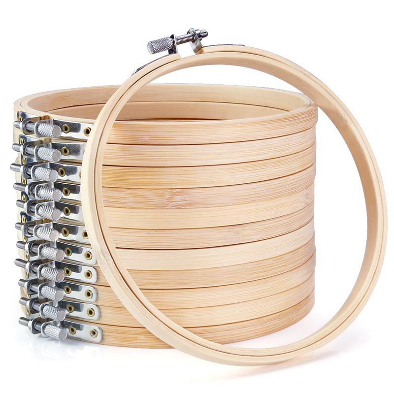 12 Pieces 6 Inch Wooden Embroidery Hoops Bulk Wholesale Bamboo Circle Cross N9S9