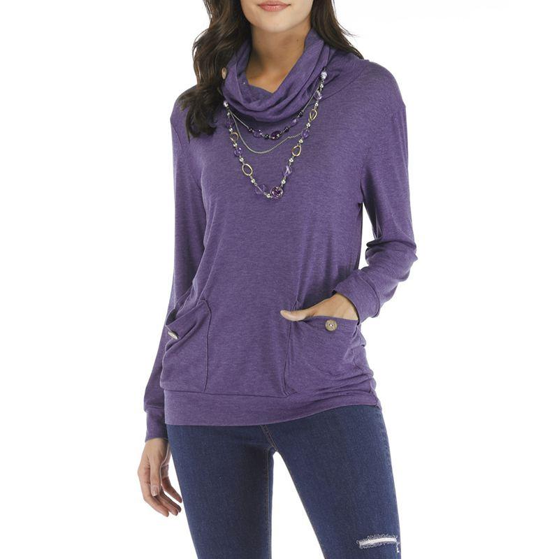 Neue Frauen Einfarbig Tasche Pullover Oberteil Kragen Langarm Mode Lässig S T2U4