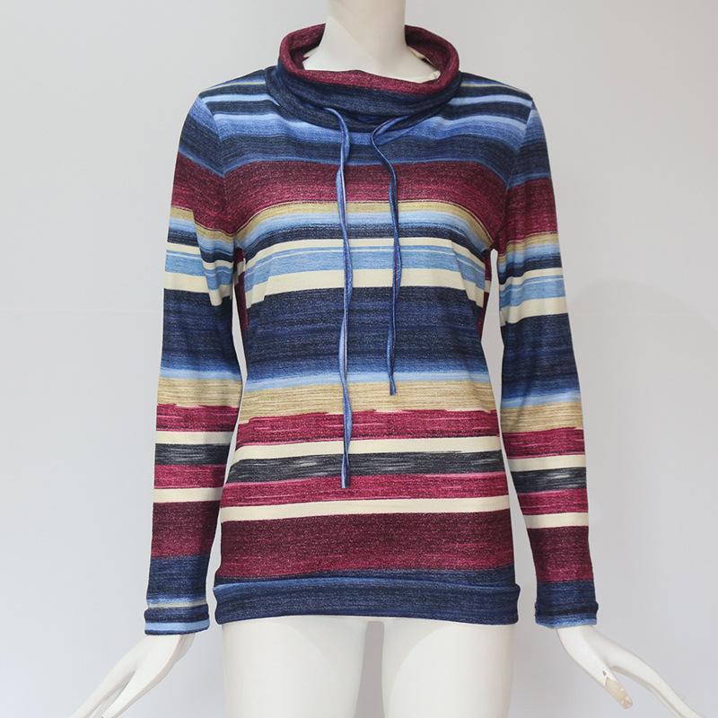 Damen Mode Kordelzug Rollkragen Mit Langen Ärmel Farbe Gestreiftes T-Shirt  O3Y6