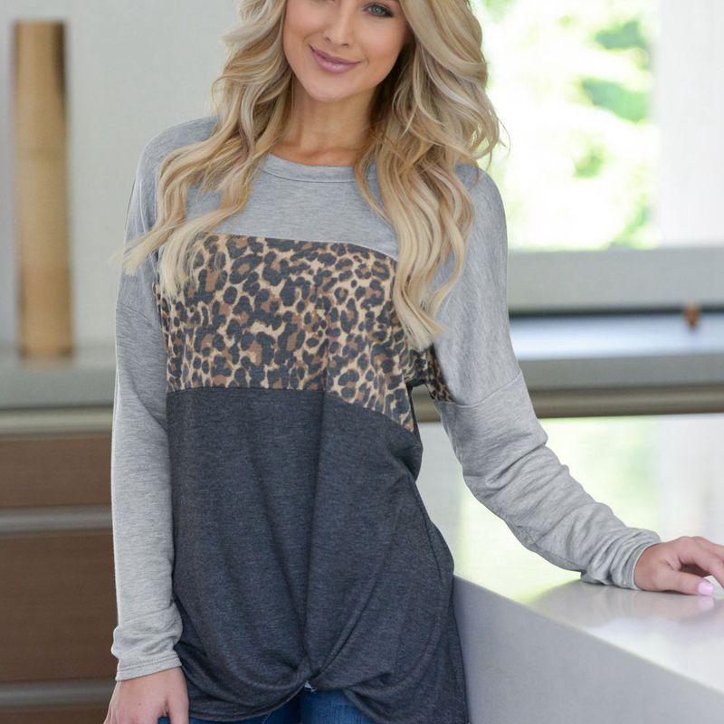 Damen Lange Ärmel Leopard Druck Pullover T-Shirts Frauen Spleiß O ausschni G1C1