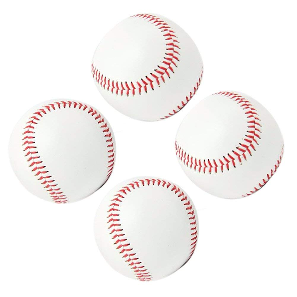 Practice Baseballs, Reduced Impact Safety Baseballs, Standard 9 Inch Adult Youth Leather Covered Soft Balls Team Game Competition Pitching Catching Training, 4Pack