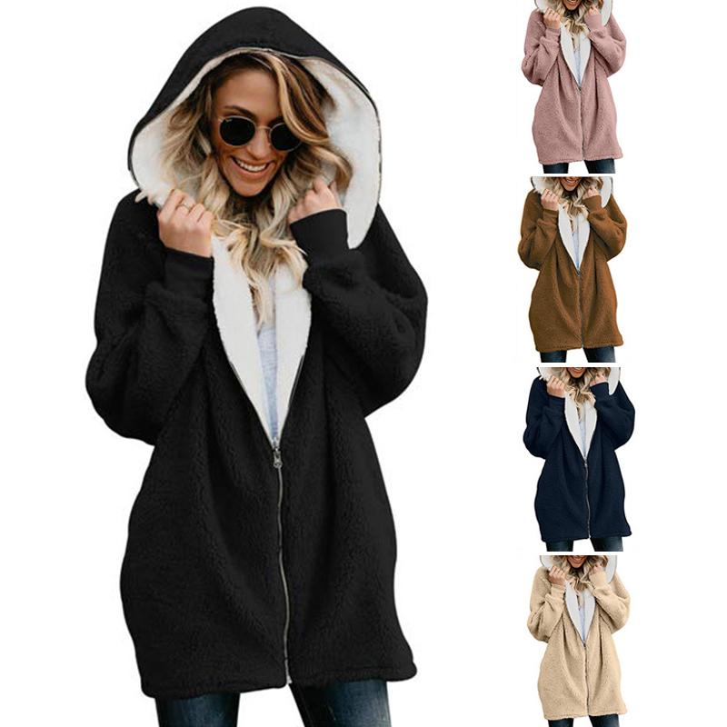 Damen Mode Lammwolle Reißverschluss Mit Kapuze Vlies Warme Strickjacke Jack M5R8