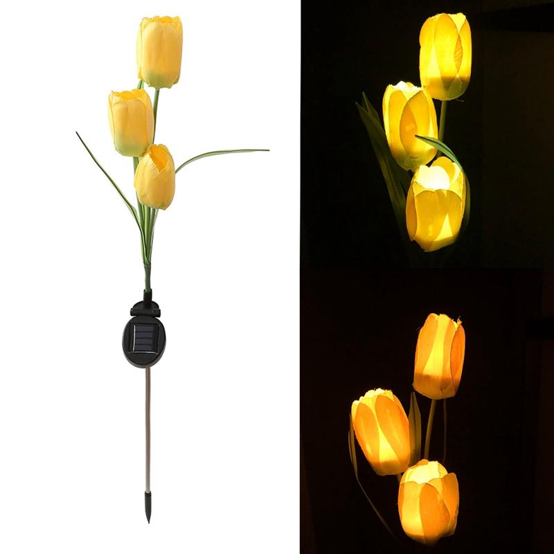 Solarbetriebene Tulpe Blume Led Licht Hof Garten Weg Landschaft Lampe Im Fr R3E5
