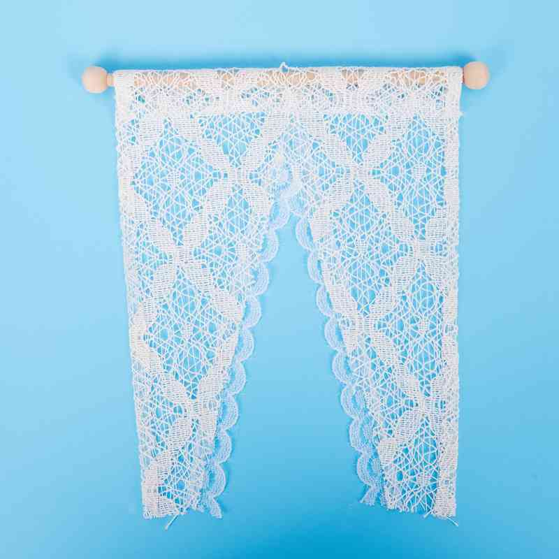 Dollhouse Curtains Miniature Furniture Accessories Window Valance with Rod 1 4Y3