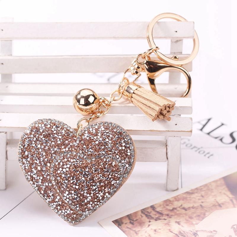 1 Stück Pc Mode Mehr Farbe Liebe Herz Set Diamant Leder Quaste Schlüssel Bu G0R2