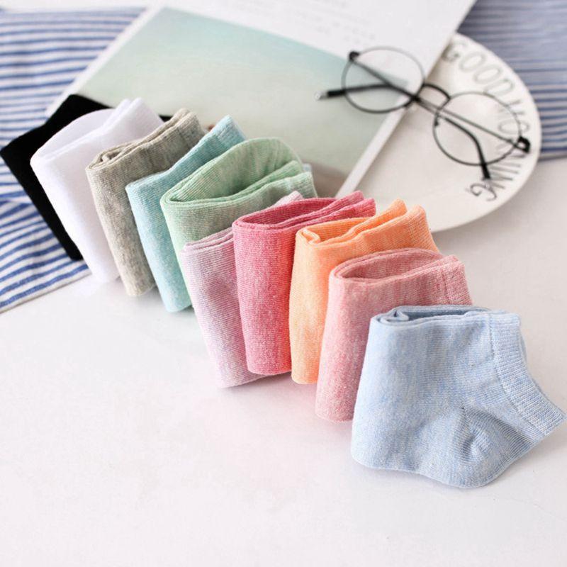 Unsichtbare Farbe Baumwolle Damen Socken Süßigkeiten Farbe Einfarbig Weibli X5M3
